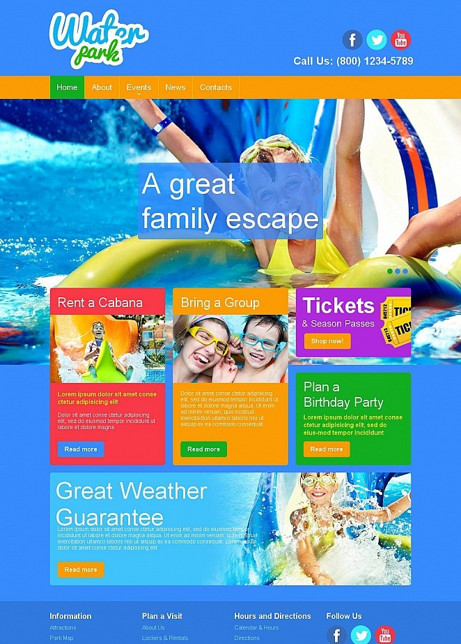 Water Park Website Template With Colorful Design Image