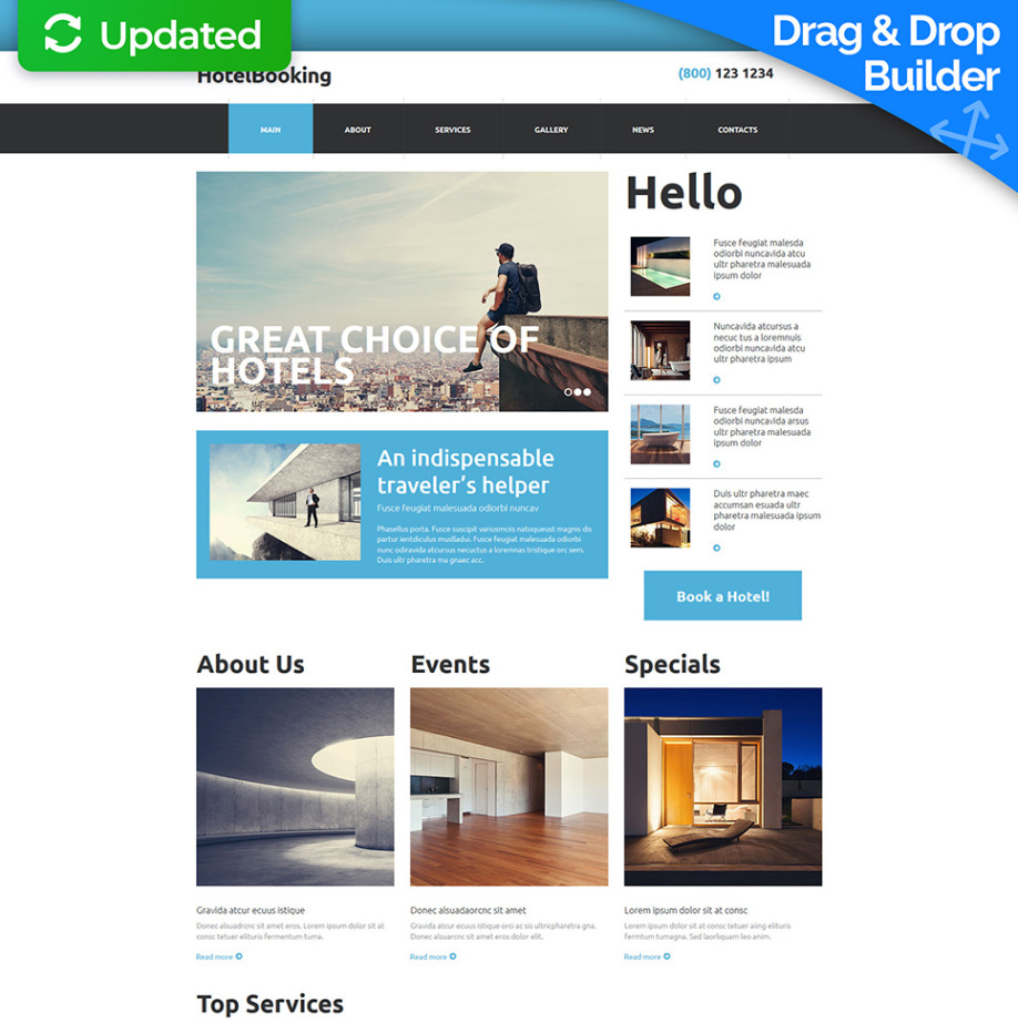 Hotel Booking Website Template MotoCMS - Booking website template