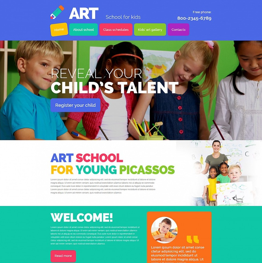 Art School Website Template Image
