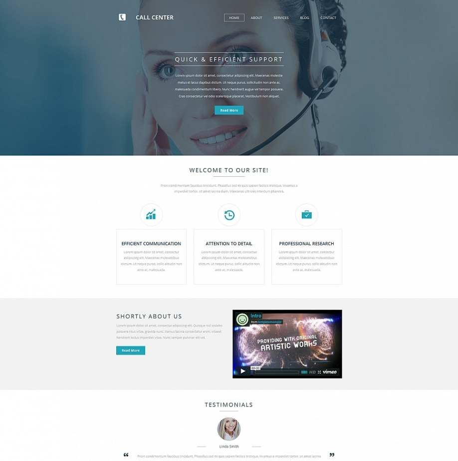 Call Center Website Template For Information Services