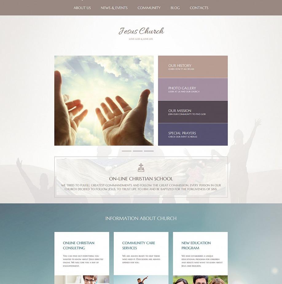 church website template for religious community sites motocms