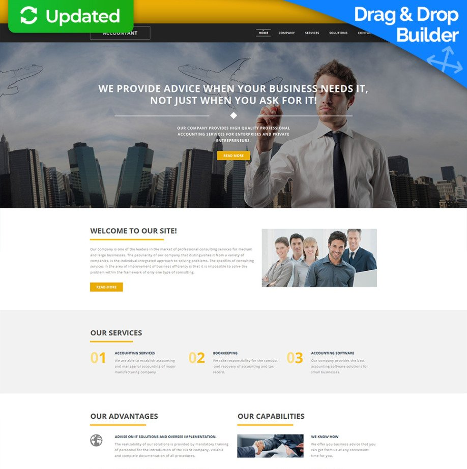 accounting web template for financial services motocms