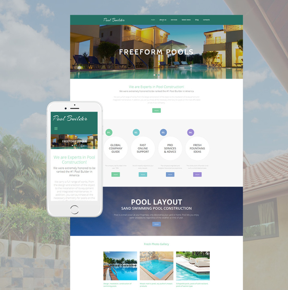 Pool Website Template For Swimming Pool Construction Company Image