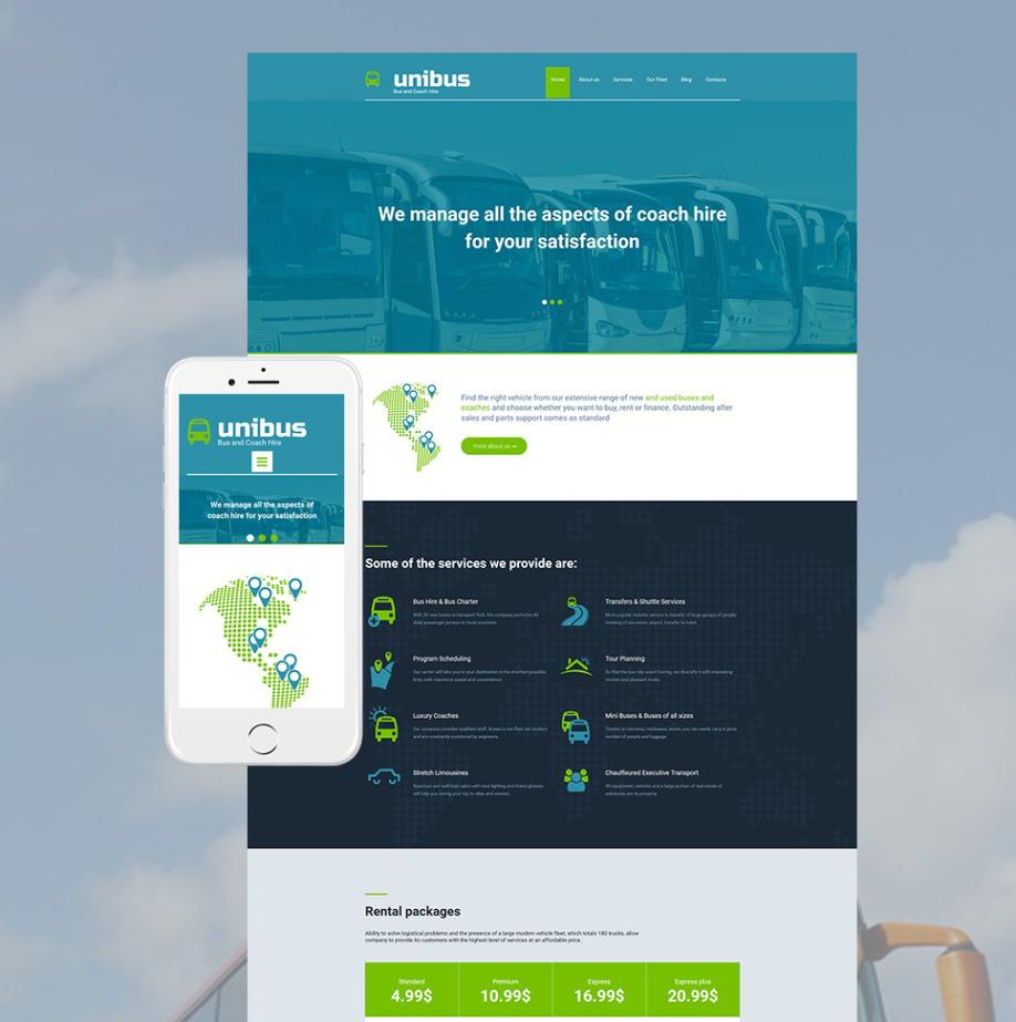 Bus Transport Website Template for Bus and Coach Hire