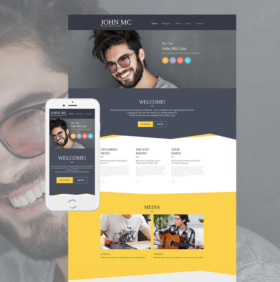 Comedian Website Template For Stand Upper Personal Site Motocms