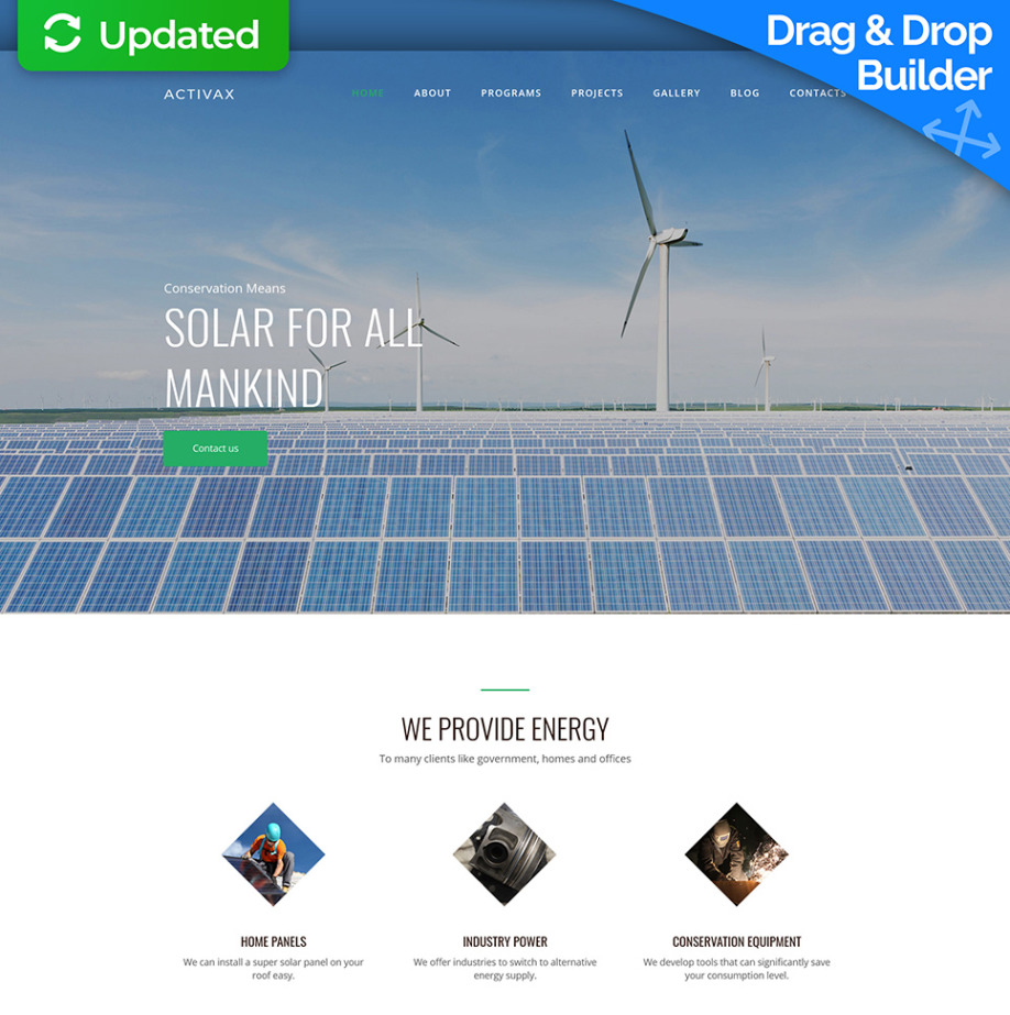 Solar Web Design Template for Solar Energy Services