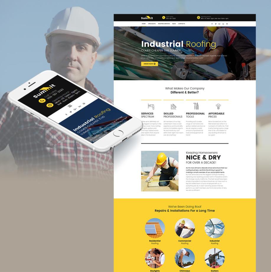 roofing website template for industrial roofing contractors motocms