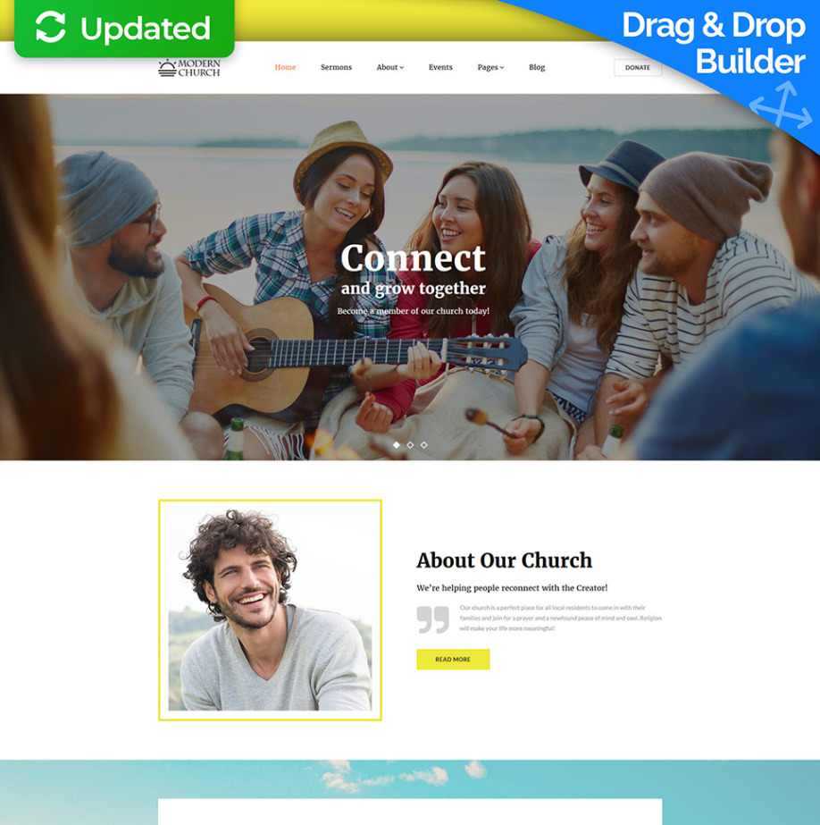 Modern Church Website Template For Religious Charities Motocms