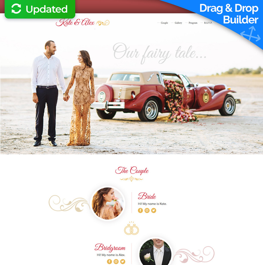 one page wedding invitation template motocms