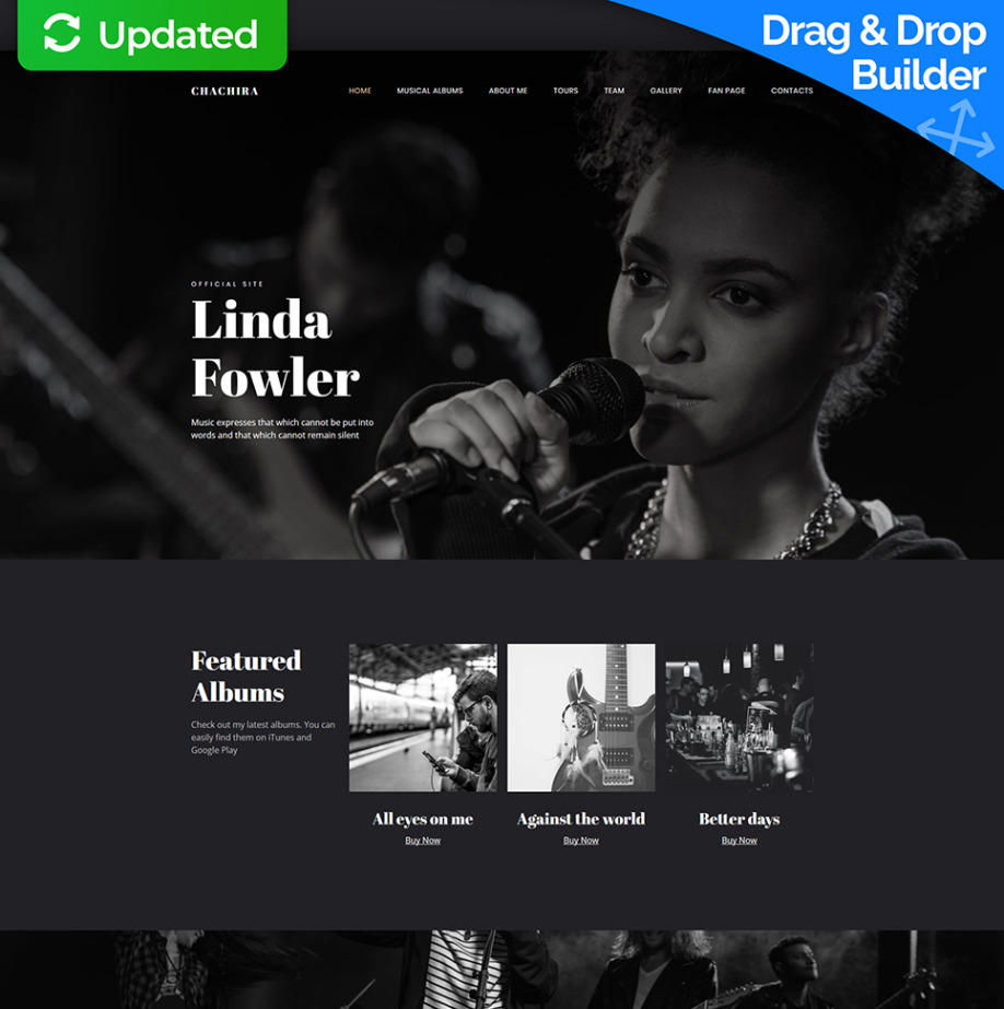 Chachira Songwriter Website Template | MotoCMS