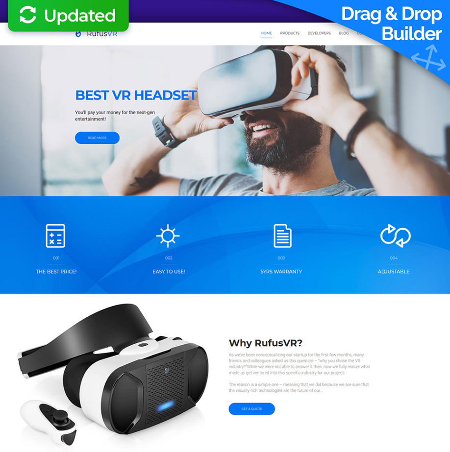 virtual reality website template for electronics websites motocms