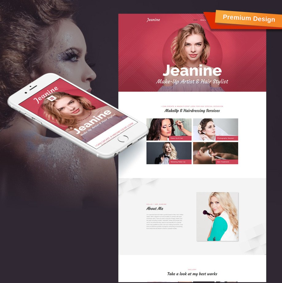 Makeup Artist Website Template For Stylist Portfolio Image