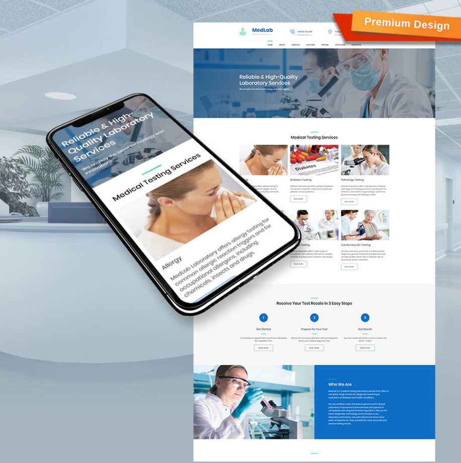 Medical Laboratory Website Template for Diagnostic Site