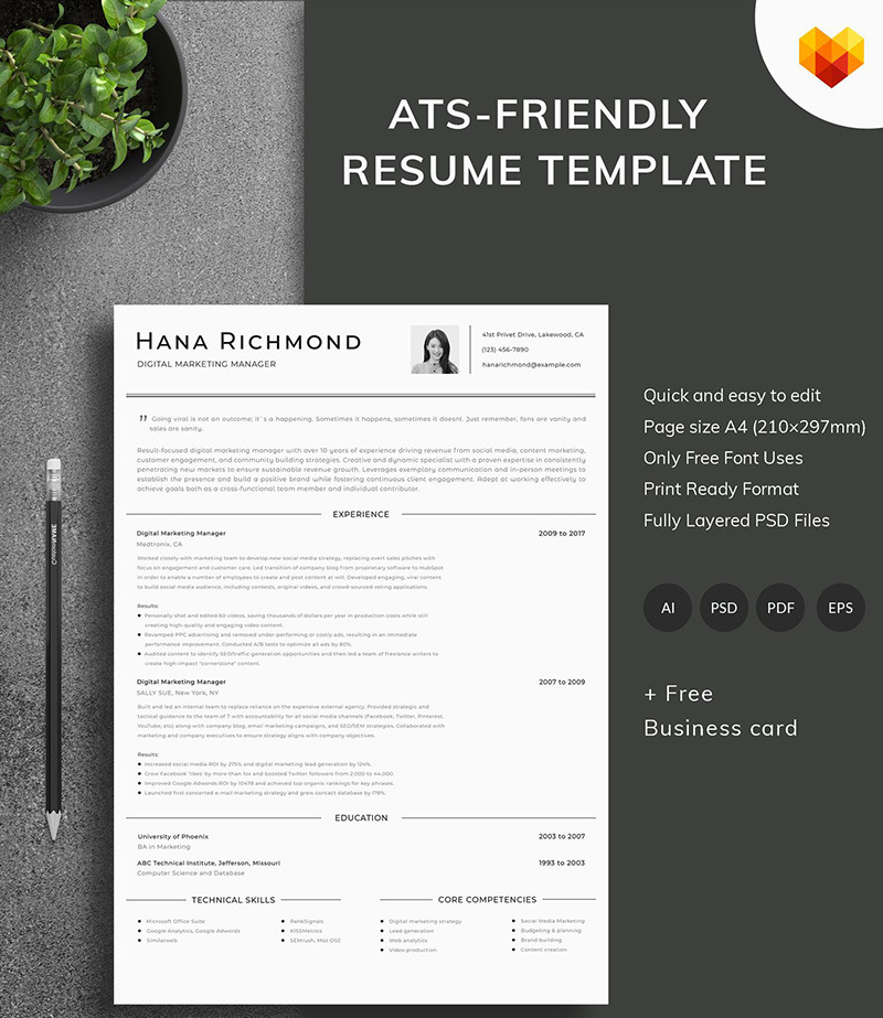 Digital Marketing Manager Resume Template Motocms