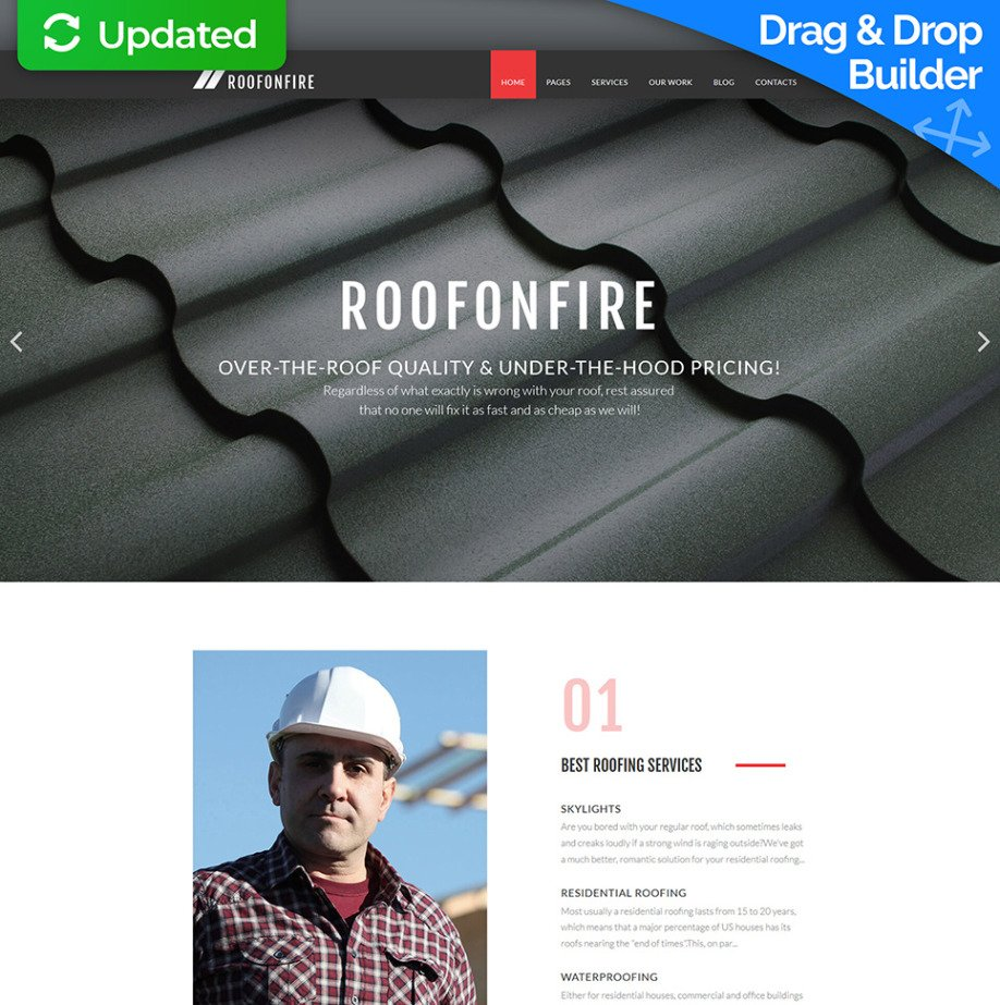 roofing company website template for roofing services motocms
