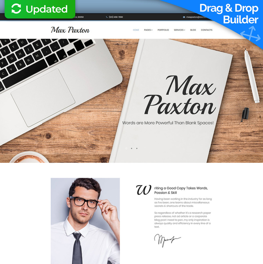 Freelance Writer Website Template for Copywriter Portfolio Website ...