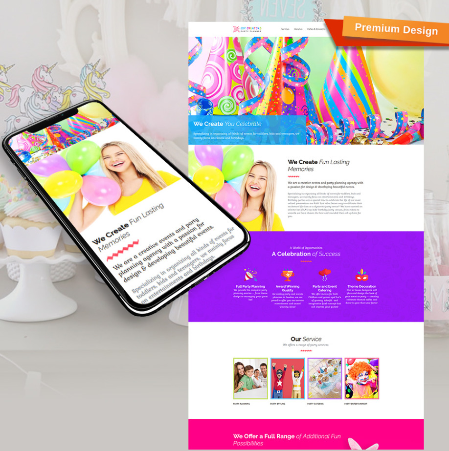 party planner website template for birthday event organizer motocms