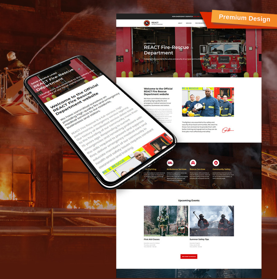 Fire Department Website Template Image