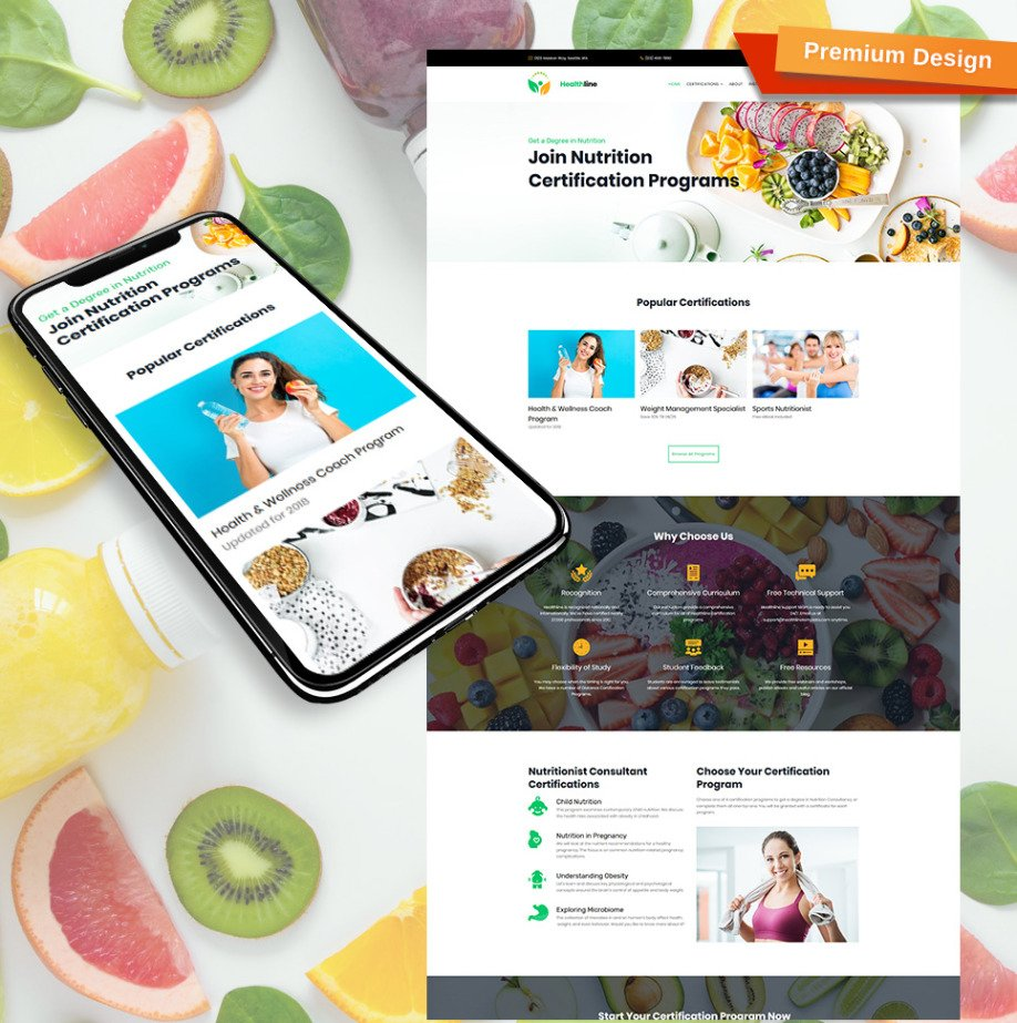new style a04b9 2080d Nutrition Website Template for Certification Programs image