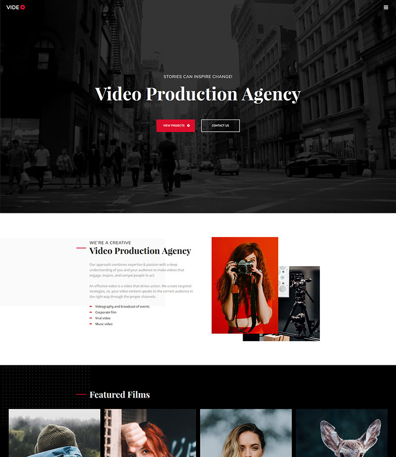 Video Portfolio Website Template Image
