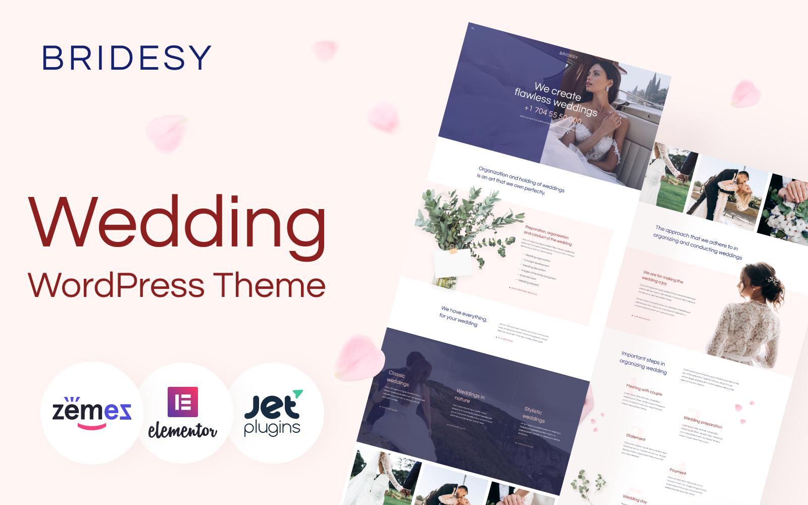 """Bridesy - Tender And Neat Wedding"" Responsive WordPress thema №91958"
