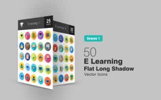 50 E Learning Flat Long Shadow Icon Set