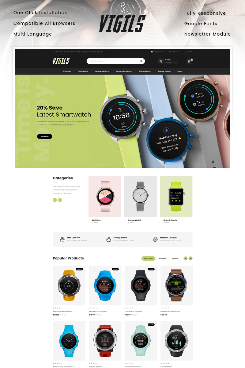 "Modello OpenCart Responsive #91961 ""Vigils - Smart Watch Store"" - screenshot"