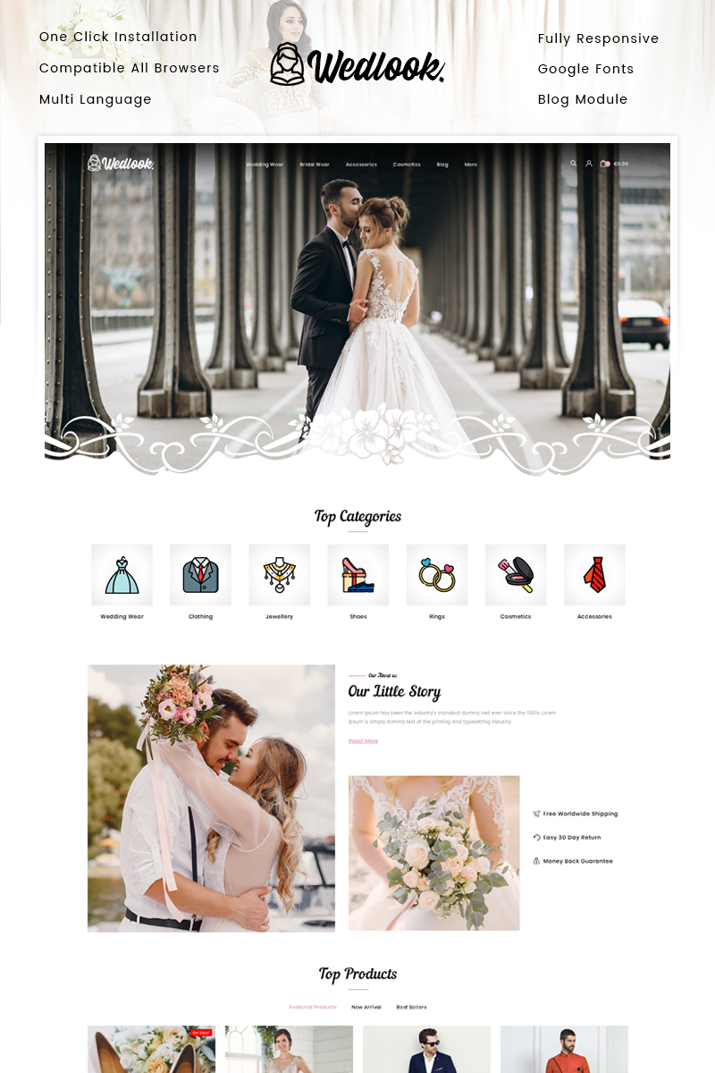 "Tema De PrestaShop ""Wedlook - Wedding Wear Store"" #91960"