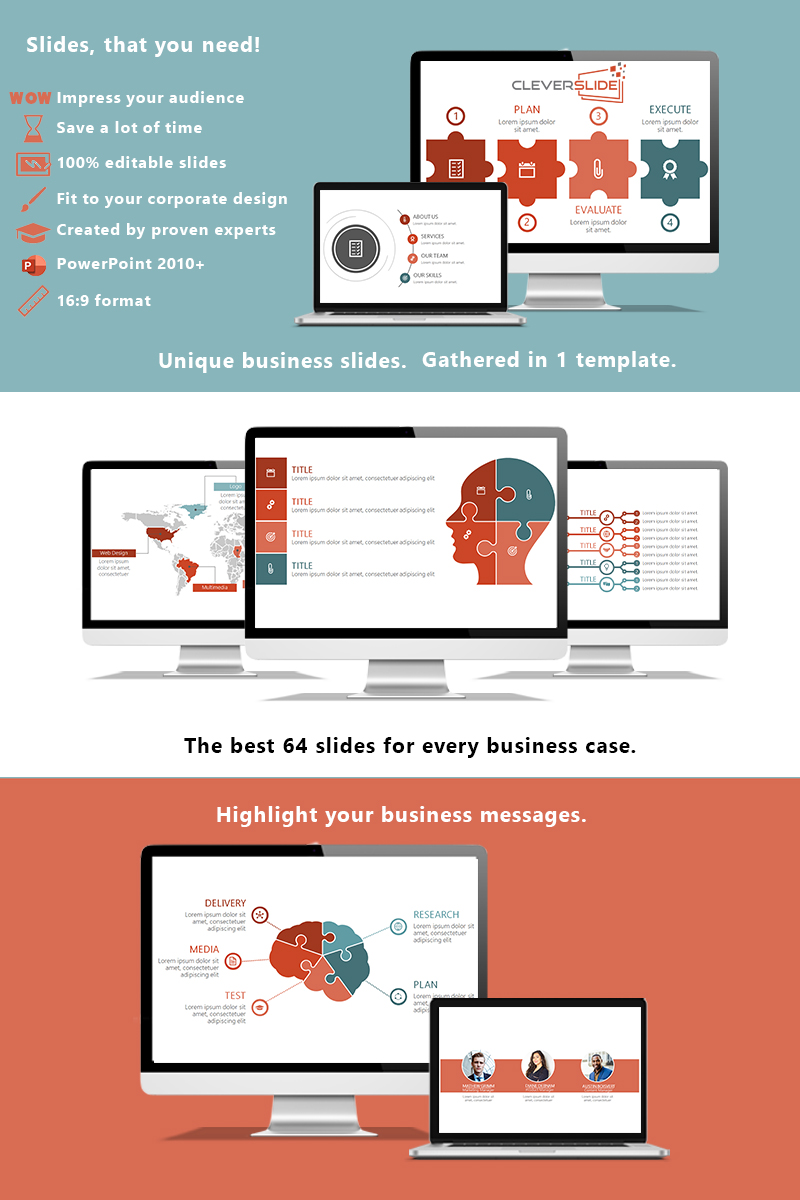 """Complete Business Presentation"" PowerPoint Template №92009"