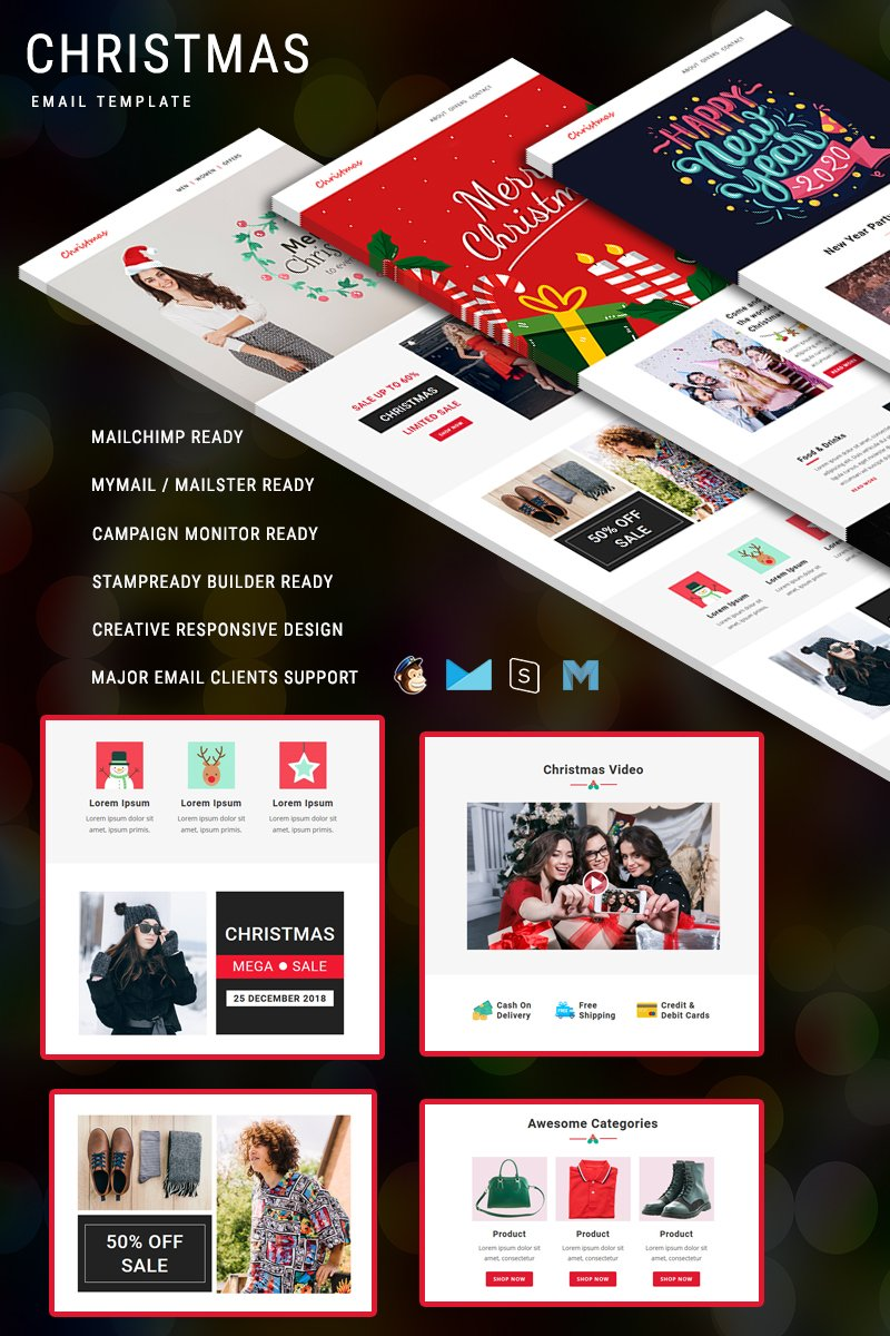 "Plantilla De Boletín De Noticias ""Christmas - Multipurpose Responsive Email"" #92027"