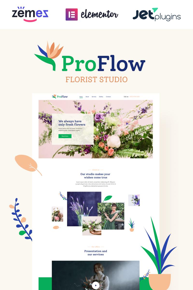 """ProFlow - Contemporary And Minimalistic Florist"" Responsive WordPress thema №92026"