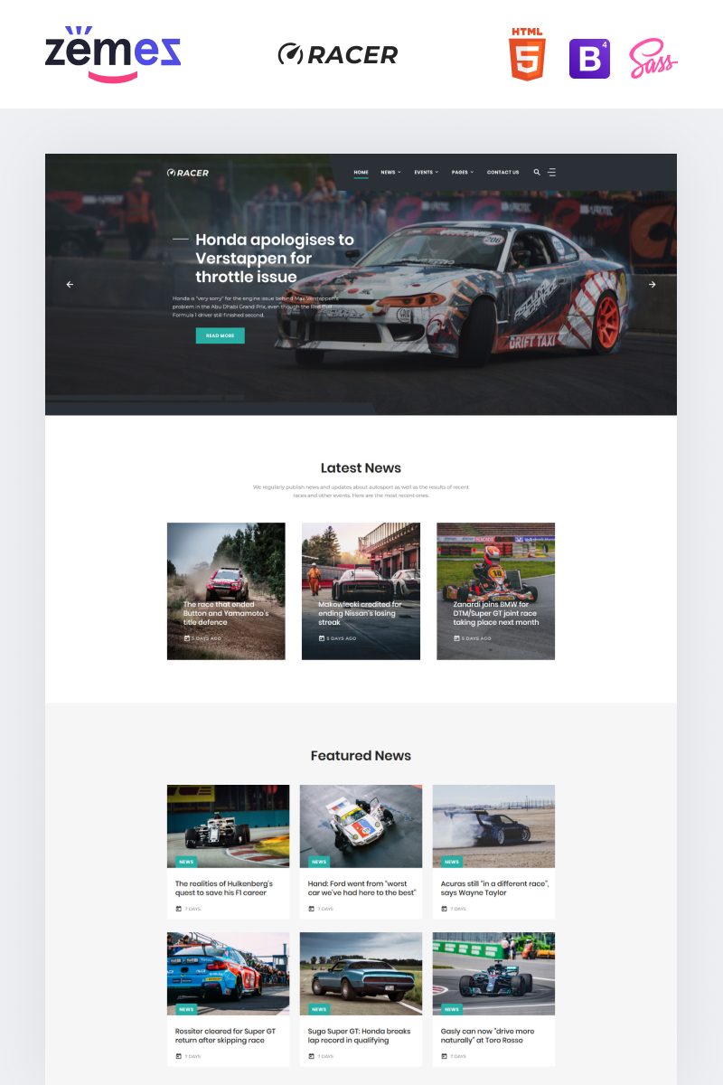 """Racer - Car Sports News"" 响应式网页模板 #92047"