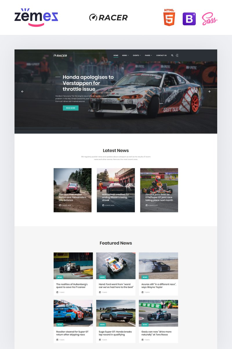 "Template Siti Web Responsive #92047 ""Racer - Car Sports News"""