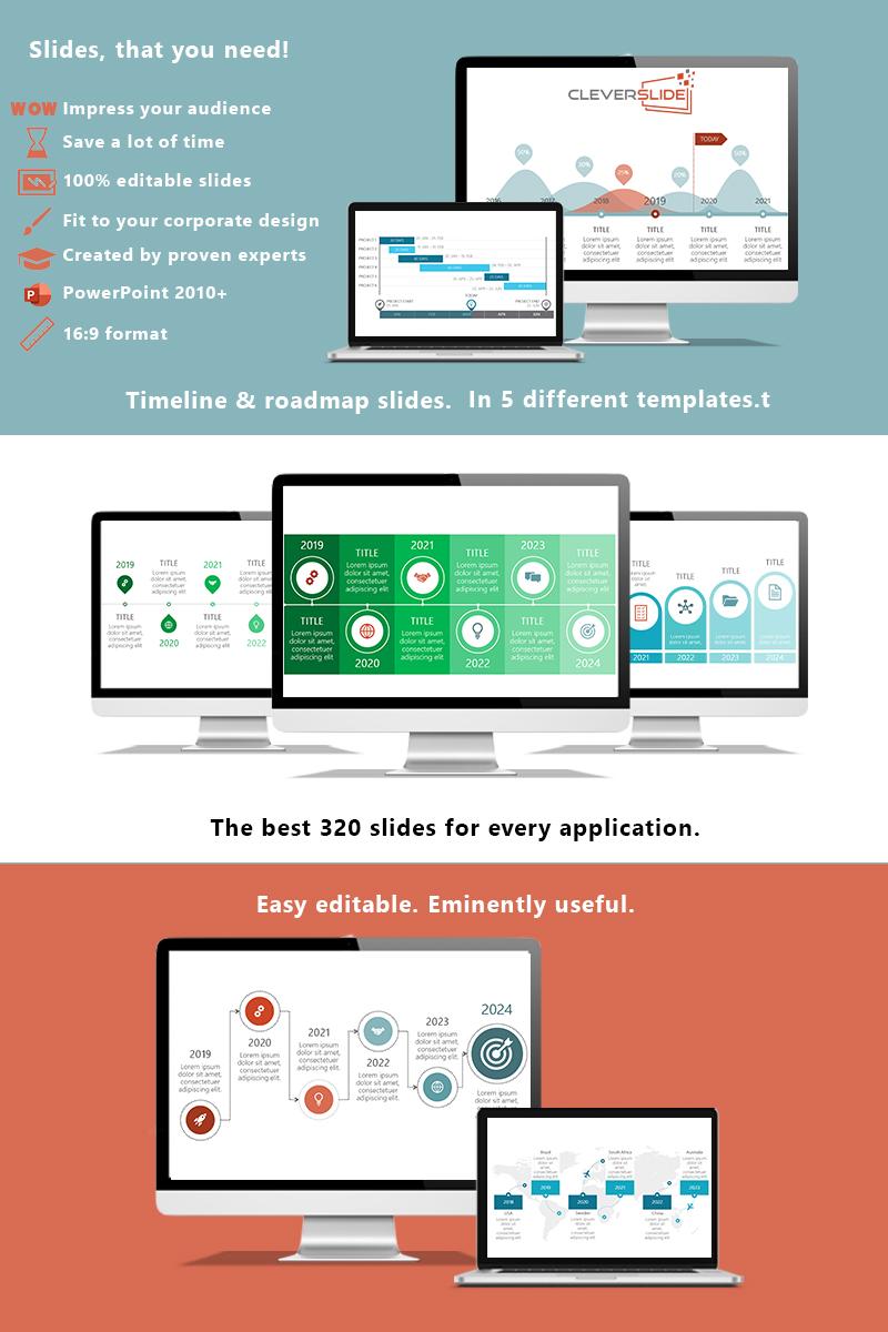 """""""Timeline & Roadmap Slides Variations"""" - PowerPoint шаблон №92007"""