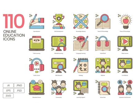 110 Online Education Icons - Hazel Series Icon Set