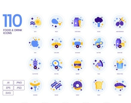 110 Food _ Drinks Icons - Lavender Series Icon Set