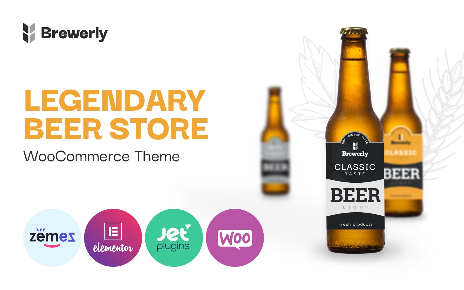 """Brewerly - Engaging And Multifunctional Beer Shop Template"" - адаптивний WooCommerce шаблон №92130"