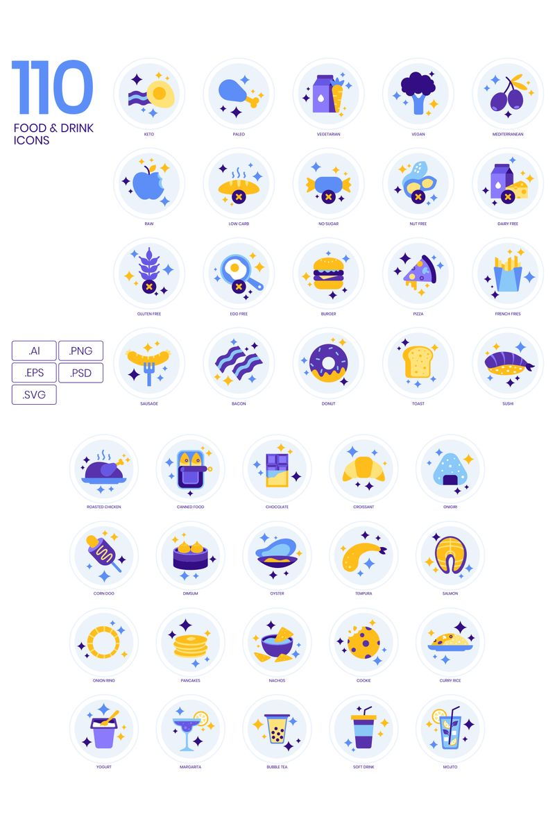 110 Food _ Drinks Icons - Lavender Series Iconset Template