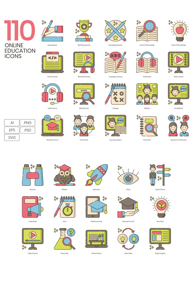 110 Online Education Icons - Hazel Series Iconset Template