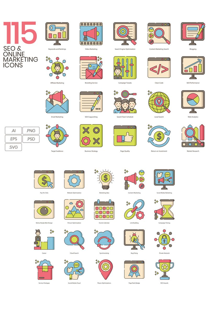 115 Online Marketing Icons - Hazel Series Iconset Template