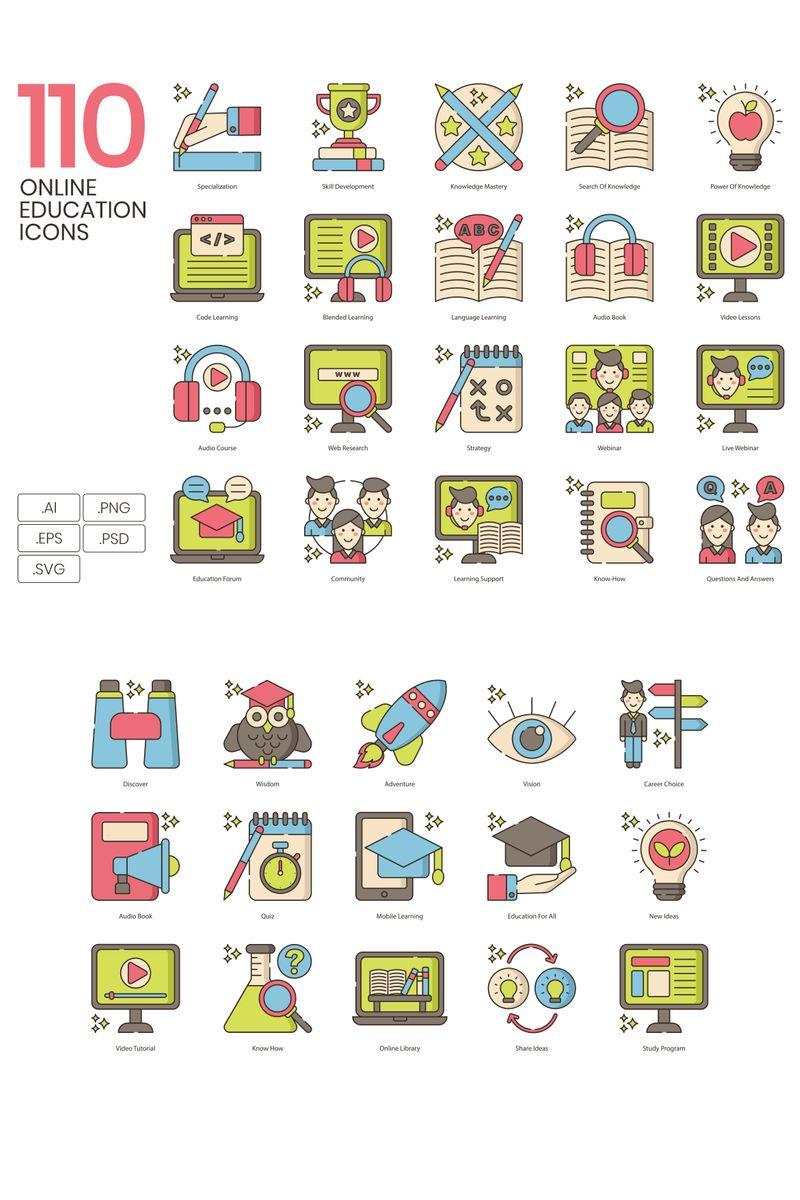 """Plantilla De Conjunto De Iconos """"110 Online Education Icons - Hazel Series"""" #92191 - captura de pantalla"""