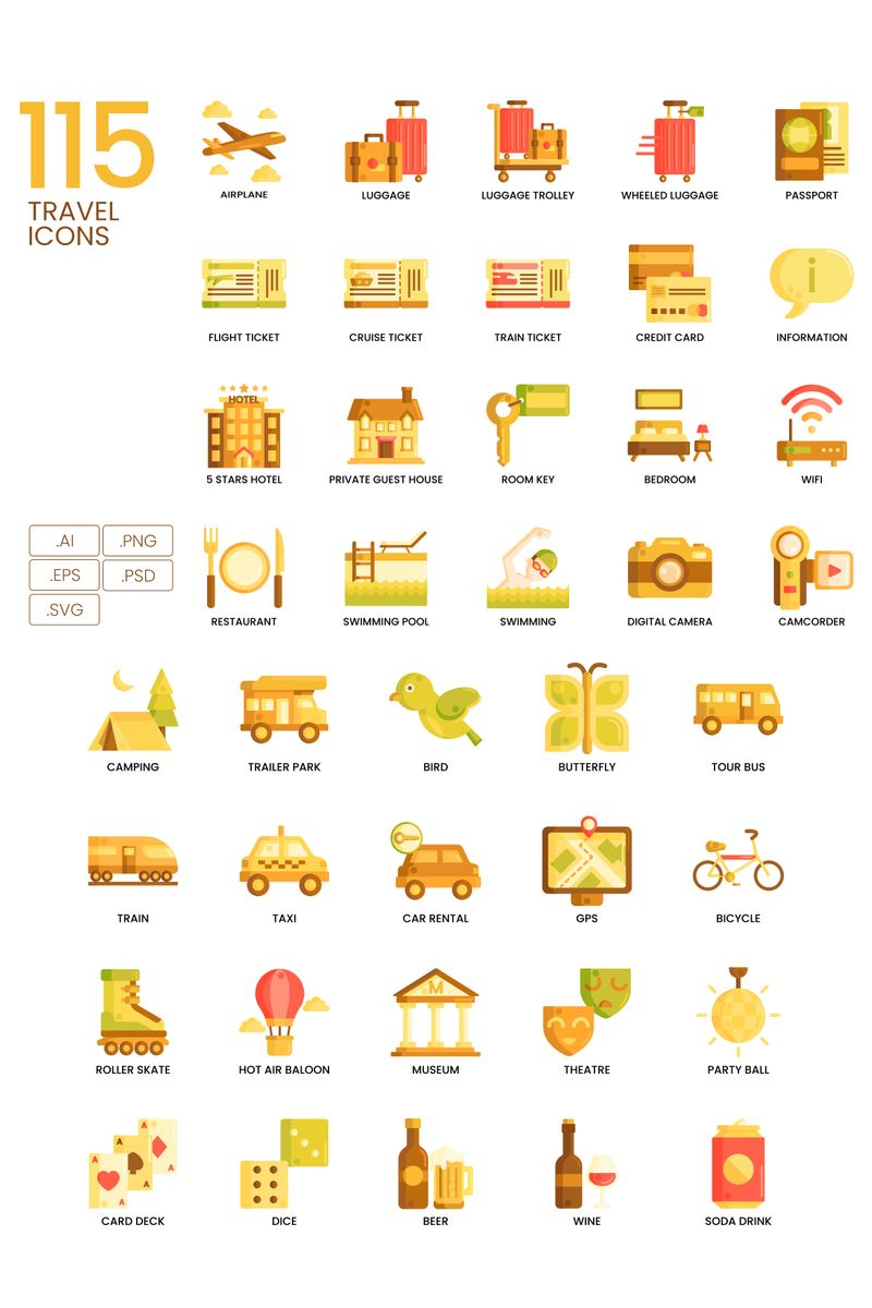 115 Travel Icons - Caramel Series Iconset Template