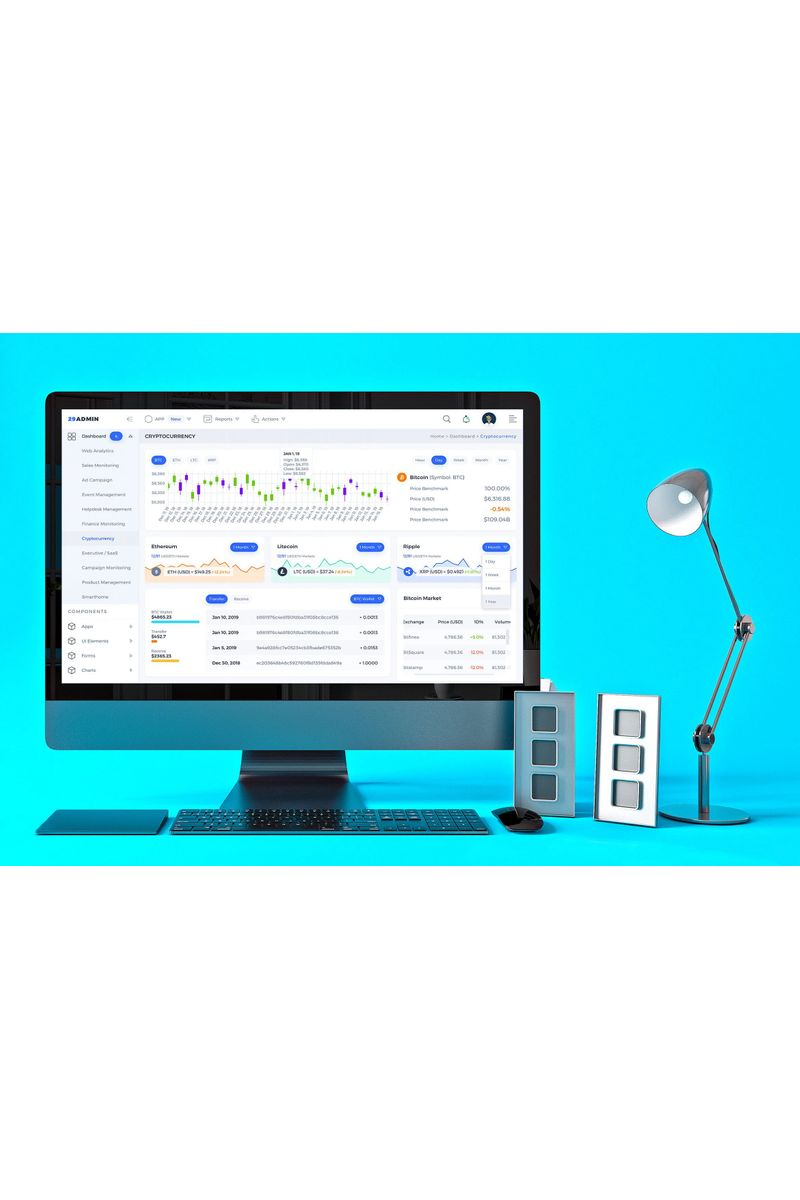 """Cryptocurrency Admin Dashboard UI"" Éléments d'IU  #92244"