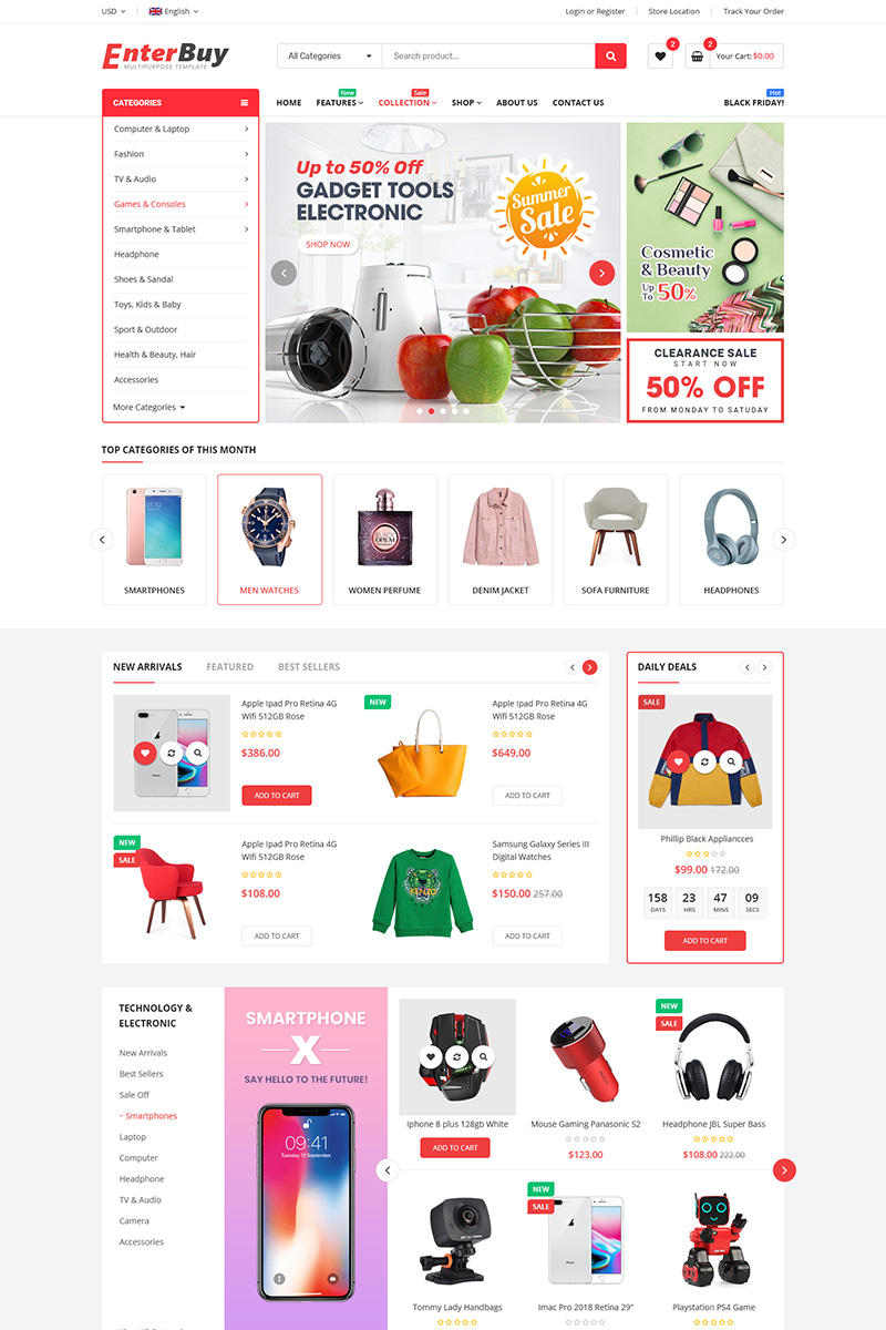 """EnterBuy - Multipurpose"" - Shopify шаблон №92285"