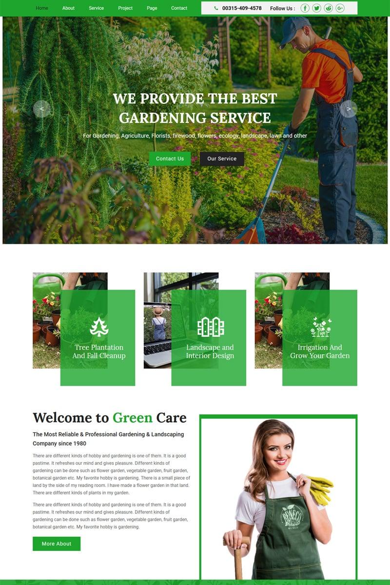 """Greencare - Gardening & Landscaping"" 奖金Muse 模板 #92291"