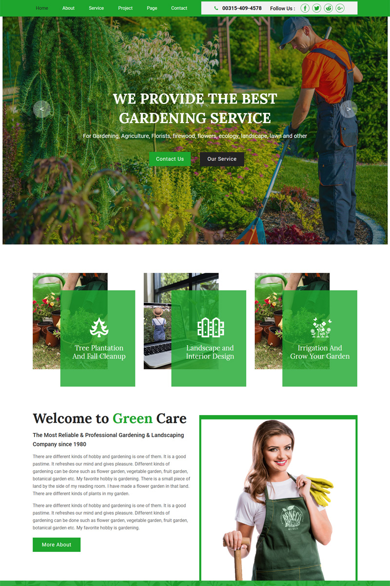 """Greencare - Gardening & Landscaping"" - Muse шаблон №92291"
