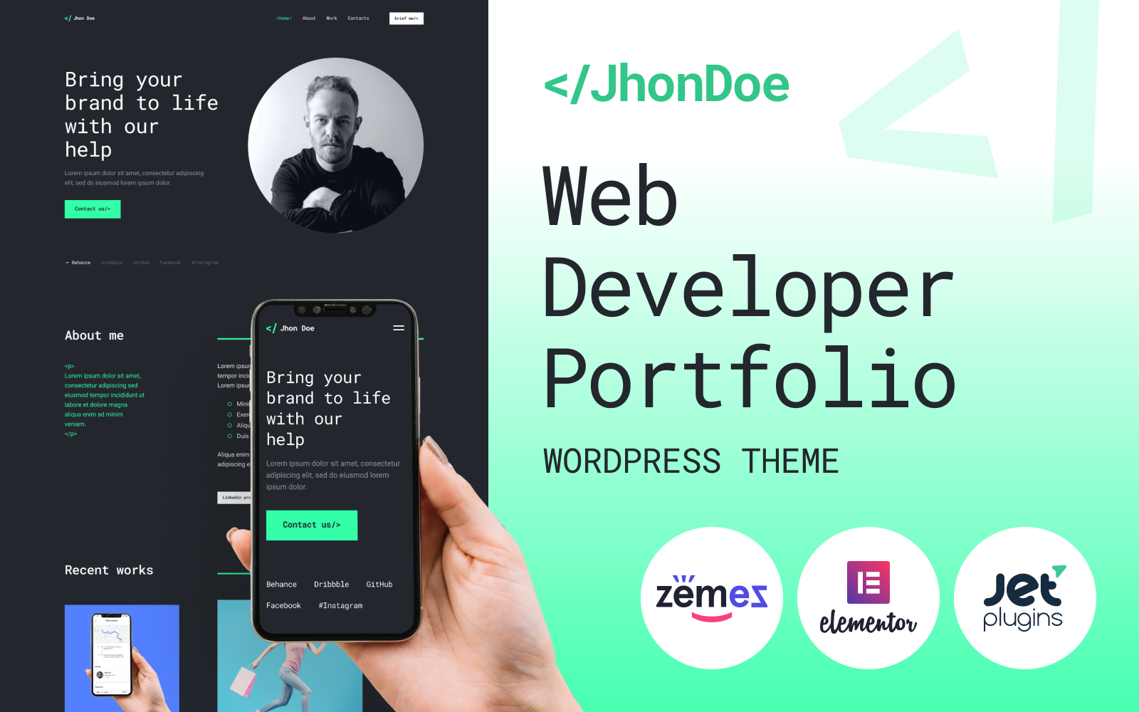 """Jhon Doe - Contemporary Web Developer"" - адаптивний WordPress шаблон №92284"