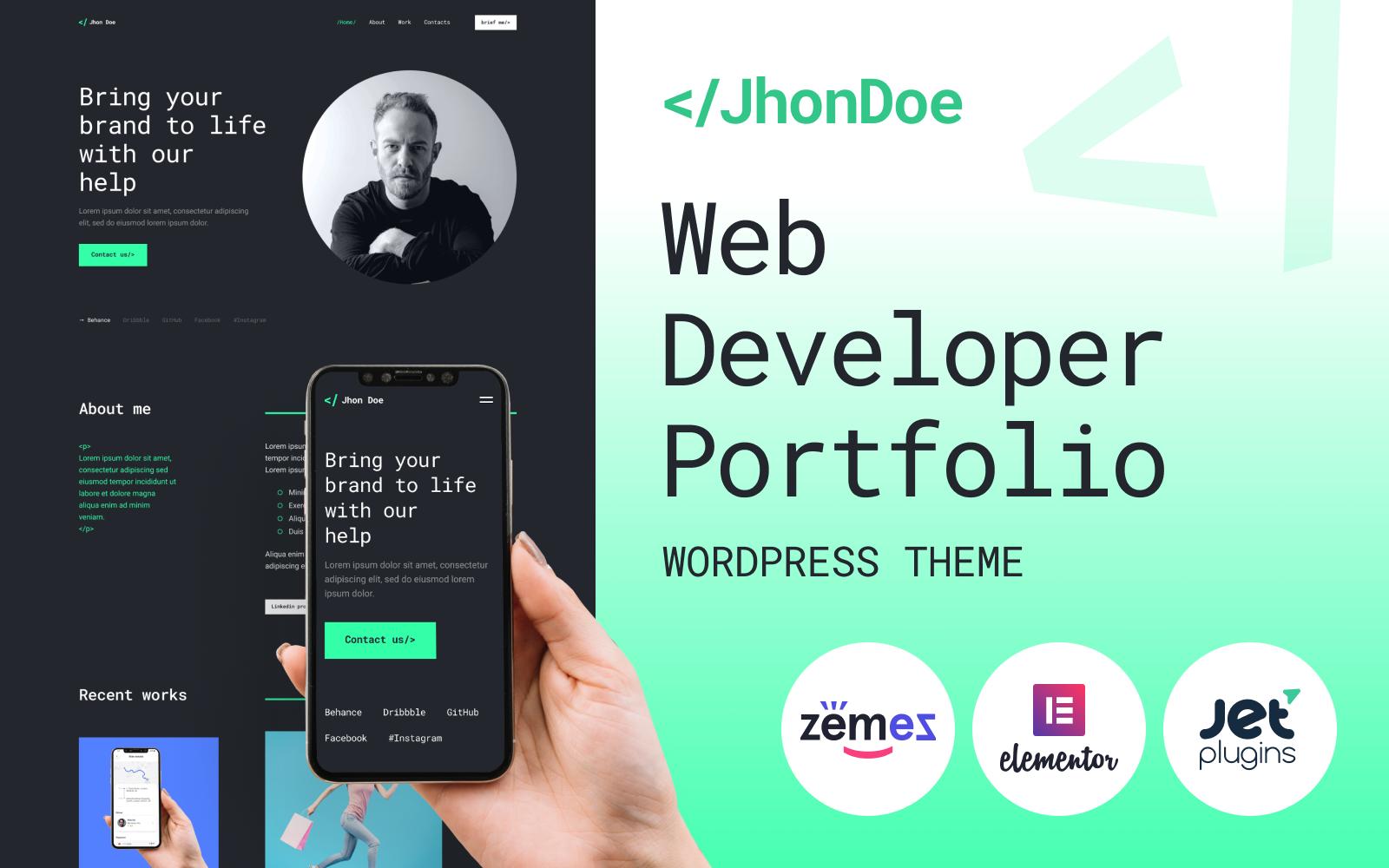 """Jhon Doe - Contemporary Web Developer"" 响应式WordPress模板 #92284"