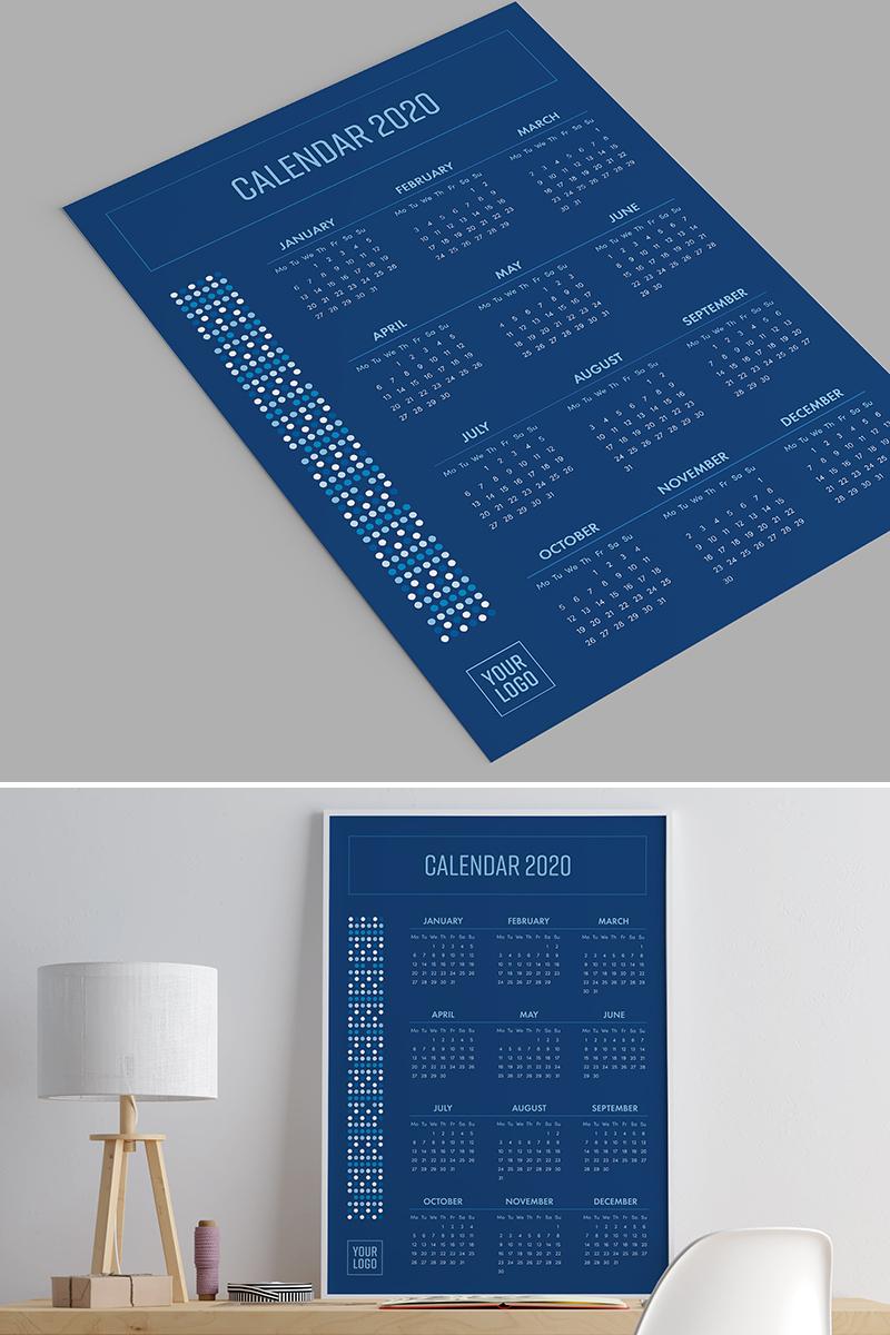 Poster Calendar 2020. Classic Blue Planner