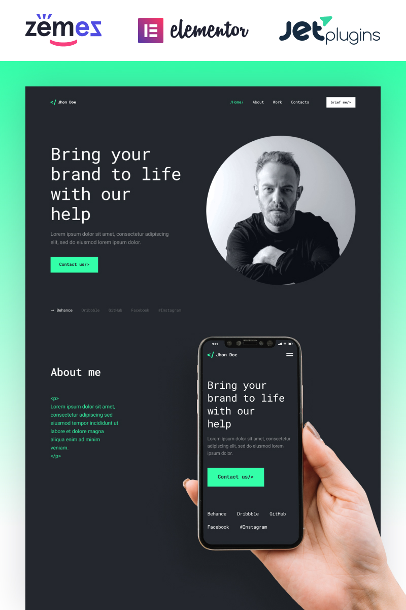 "Template WordPress Responsive #92284 ""Jhon Doe - Contemporary Web Developer"""